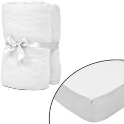 vidaXL Prześcieradła jersey w kolorze białym 90x190-100x200 cm x2 Darmowa wysyłka i zwroty