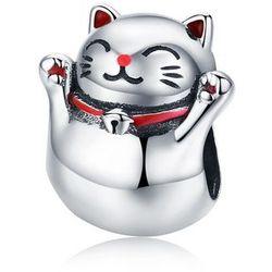 Rodowany srebrny charms do pandora japoński kot maneki neko cat srebro 925 NEW129