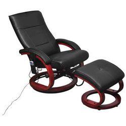 vidaXL Fotel masujący ze sztucznej skóry z podnóżkiem, czarny Darmowa wysyłka i zwroty