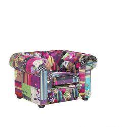 Fotel patchwork fioletowy - wypoczynkowy - do salonu - CHESTERFIELD