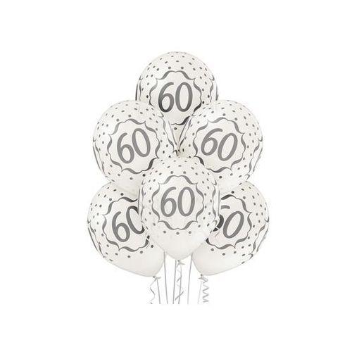"""Pozostałe wyposażenie domu, Balony metaliczne z nadrukiem """"60"""" - 12 cali - 6 szt."""