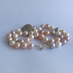 Naszyjnik supełkowany - perły okrągłe kolor mix PES13-A-2