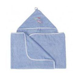 Niebieskie okrycie kąpielowe ręcznik z kapturkiem 70x140 MAXI JUNIOR