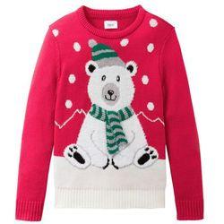 Sweter dzianinowy z zimowym motywem bonprix czerwony
