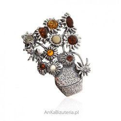 ankabizuteria.pl Broszka srebrna z bursztynem - wazon z kolorowymi makami