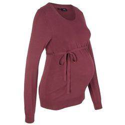 Sweter ciążowy z 100% bawełny, z wiązanym paskiem bonprix czerwony klonowy