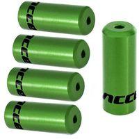 Pancerze i linki, Końcówki pancerza Accent aluminiowe 4 mm, przerzutkowe, 5 szt. zielone