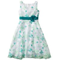 Sukienki dziecięce, Sukienka na uroczyste okazje bonprix biało-szmaragdowy motyl
