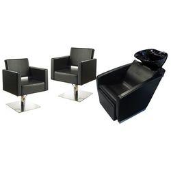 Zestaw Mebli Fryzjerskich - Myjnia Vasto Z Czarną Misą + 2 x Fotel Modena