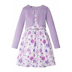 Sukienka dziewczęca + pasek + bolerko (3 części) bonprix biało-kolor bzu w roślinny wzór