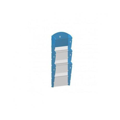 Ramy,stojaki i znaki informacyjne, Plastikowy uchwyt ścienny na ulotki - 1x3 A4, niebieski