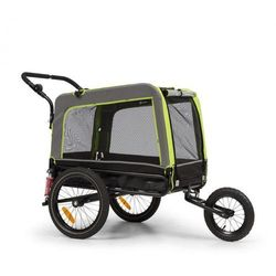 KLARFIT Husky Vario, rowerowa przyczepka do przewozu psów/wózek dla psów 2 w 1, ok. 240 l, płótno Oxford 600D, zielony