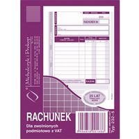 Druki akcydensowe, Rachunek dla zwol. podmiot. z Vat Michalczyk&Prokop 232-5 - A6 (oryginał+kopia)
