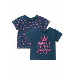 Koszulka niemowlęca (2 szt.), bawełna organiczna bonprix ciemnoniebieski z nadrukiem