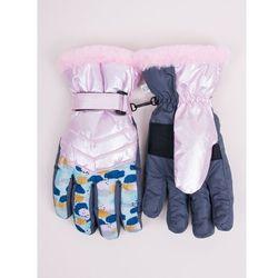 Rękawiczki narciarskie damskie różowe w plamki 20