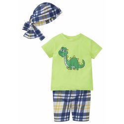 Koszulka + bermudy + bandana (3 szt.), bawełna organiczna bonprix jasnozielony - dinozaur