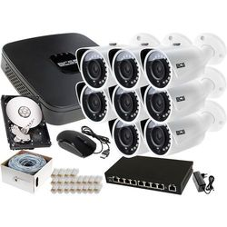 Zestaw do monitoringu: Rejestrator BCS-NVR08015ME-II + 8x Kamera BCS-TIP3200IR-E + 1TB