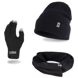 Komplet męski PaMaMi - czapka, szalik, rękawiczki - Czarny