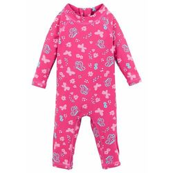 Kombinezon kąpielowy niemowlęcy z ochroną UV, dziewczęcy bonprix ciemnoróżowo-jasnoróżowy