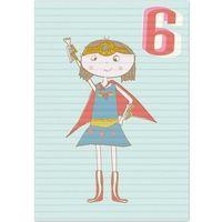 Pozostałe artykuły szkolne, Karnet B6 z kopertą Urodziny 6 dziewczynka