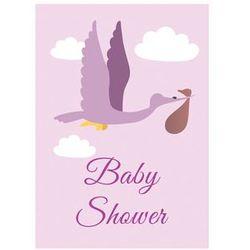 Zaproszenie personalizowane na baby shower liliowe - 1 szt.