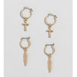 Uncommon Souls 2 pack earrings in cross and feather - Gold