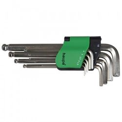 HAUPA Zestaw kluczy imbusowych 9-elemementów 1,5-9mm, grot kulowy długi; 100927
