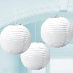 Lampiony białe - 25 cm - 3 szt.