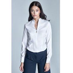 Biała Koszulowa Bluzka ze Stojką z Długim Rękawem