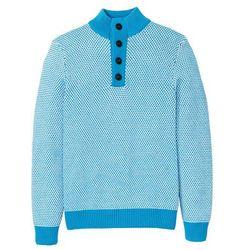 Sweter ze stójką z bawełny z recyclingu bonprix ciemnoturkusowy - biały melanż
