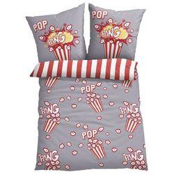 Pościel dwustronna z nadrukiem z motywem popcornu bonprix szaro-czerwony