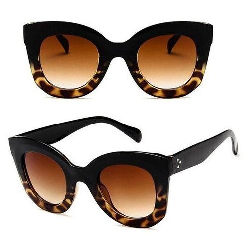 Okulary przeciwsłoneczne, Okulary damskie kocie przeciwsłoneczne panterkowe