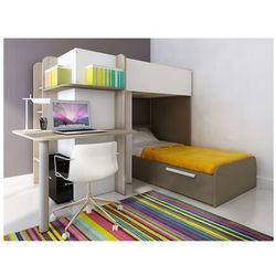 Łóżko piętrowe SAMUEL – 2 × 90 × 190 cm – wbudowane biurko – kolor sosna biała i czekoladowy