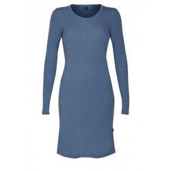 Koszula nocna/sukienka damska z wełny merynosów (100%) - długie rękawy - ciemnoniebieska - DILLING