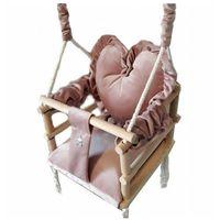 Huśtawki dla niemowląt, Różowa huśtawka serce dla dziewczynki - Aurelia 3w1