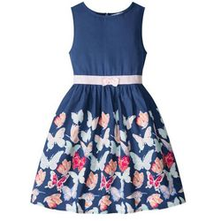 Sukienka dziewczęca z nadrukiem w motyle bonprix kobaltowy z nadrukiem