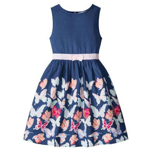 Sukienki dla dzieci, Sukienka dziewczęca z nadrukiem w motyle bonprix kobaltowy z nadrukiem