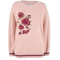 Sweter z dekoltem w serek z kaszmirem bonprix kobaltowy