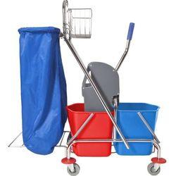Wózek do sprzątania dwuwiaderkowy 2x17 l z uchwytem na worek Wózki do sprzątania, Wózek do mycia podłóg,