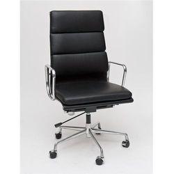 Fotel biurowy CH inspirowany EA219 skóra, chrom - czarny