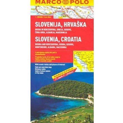 Mapy i atlasy turystyczne, Chorwacja, Słowenia, Bośnia i Hercegowina, Serbia, Czarnogóra, Macedonia 1:800 000. Mapa samochodowa, składana. Marco Polo (opr. broszurowa)