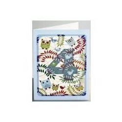 Karnet pm794 wycinany + koperta urodziny 4 sowy