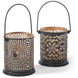 Lampiony z wycinanym wzorem (2 szt.) bonprix czarno-złoty kolor