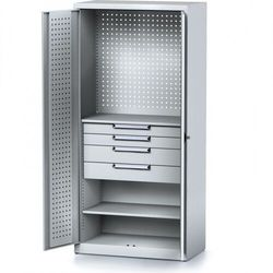 Szafa warsztatowa MECHANIC, 1950 x 920 x 500 mm, 2 półki, 4 szuflady, szare drzwi