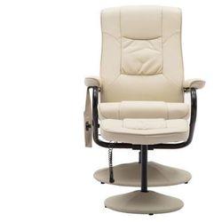 Fotel do masażu GABINO – skóra syntetyczna – kolor kość słoniowa