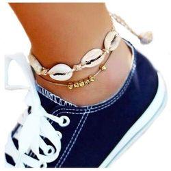 Bransoletka na nogę zestaw muszle muszelki złota
