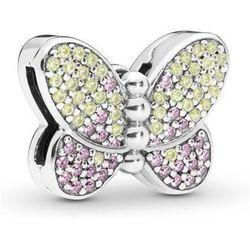 Rodowany srebrny charms pandora koralik reflexions motyl butterfly cyrkonie srebro 925 BEAD194RH