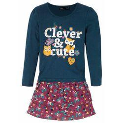 Shirt dziewczęcy z długim rękawem + spódnica (2 części) bonprix ciemnoniebiesko-jeżynowy