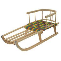 Sanki drewniane siedzisko parciane z oparciem