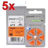 Baterie, 300 x baterie do aparatów słuchowych Power One Varta 13 MF